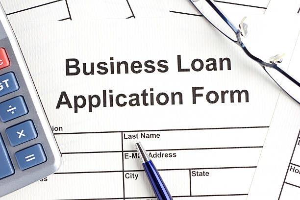Business loan application form stock photo