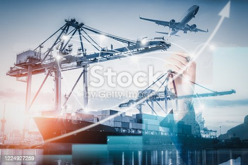 istock Business Logistic Transportation Container Shipping Terminal Loading Dock, Containers Import and Export of Freighter Transport Industrial. Maritime Port Shipment Cargo Shipyard of Logistics Industry 1224927259