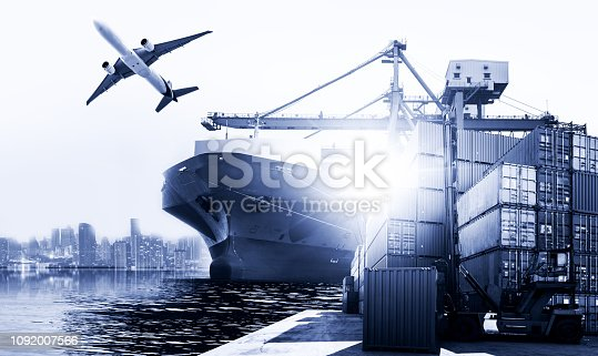 istock Business Logistics and transportation concept, Industrial Container Cargo freight ship for Logistic Import Export background 1092007566