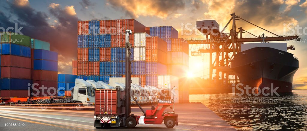 Business Logistics And Transportation Concept Of Container