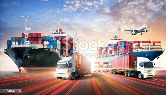 istock Business logistics and transportation concept of containers cargo freight ship and cargo plane in shipyard at sunset sky, logistic import export and transport industry background 1273907220