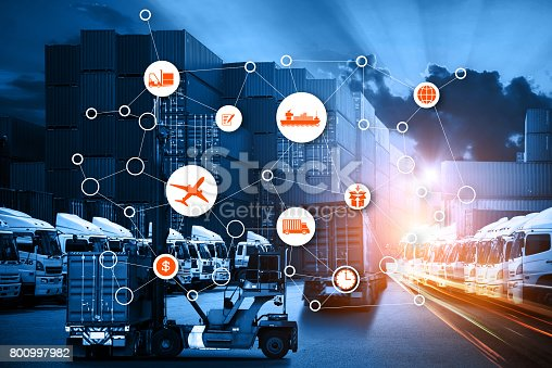 istock Business Logistics concept, Global business connection technology interface global partner connection of Container Cargo freight ship 800997982