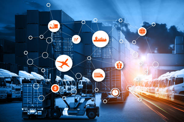 Business Logistics concept, Global business connection technology interface global partner connection of Container Cargo freight ship stock photo
