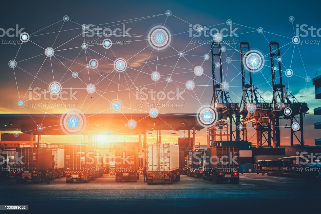 Business Logistics concept, Global network coverage world map,Truck with Industrial Container Cargo for Logistic Import Export at yard stock photo