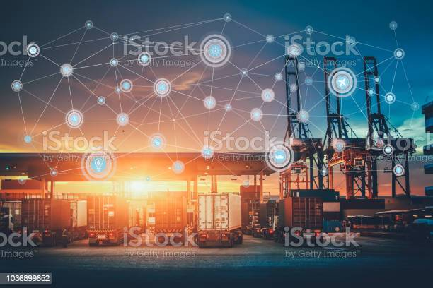 Business Logistics Concept Global Network Coverage World Maptruck With Industrial Container Cargo For Logistic Import Export At Yard Stock Photo - Download Image Now