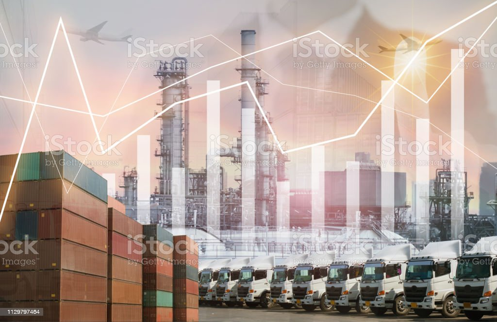 Business logistics shipping, industrial multiple exposure project...