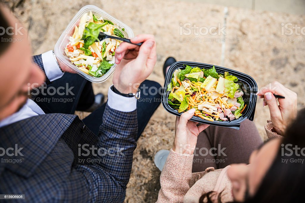 Business lunch break in Chicago Downtown stock photo