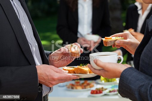 istock Business lunch in the garden 482857559