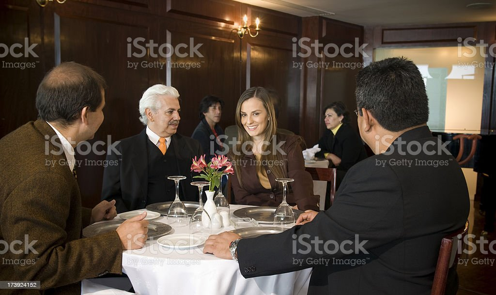 Business lunch meeting stock photo
