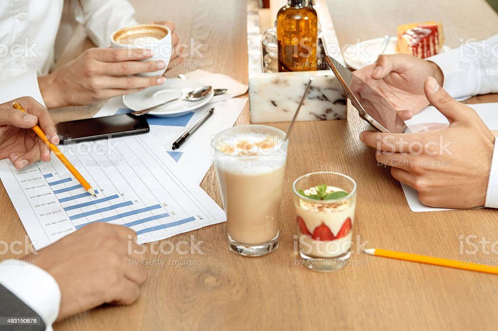 Business lunch of business partners stock photo