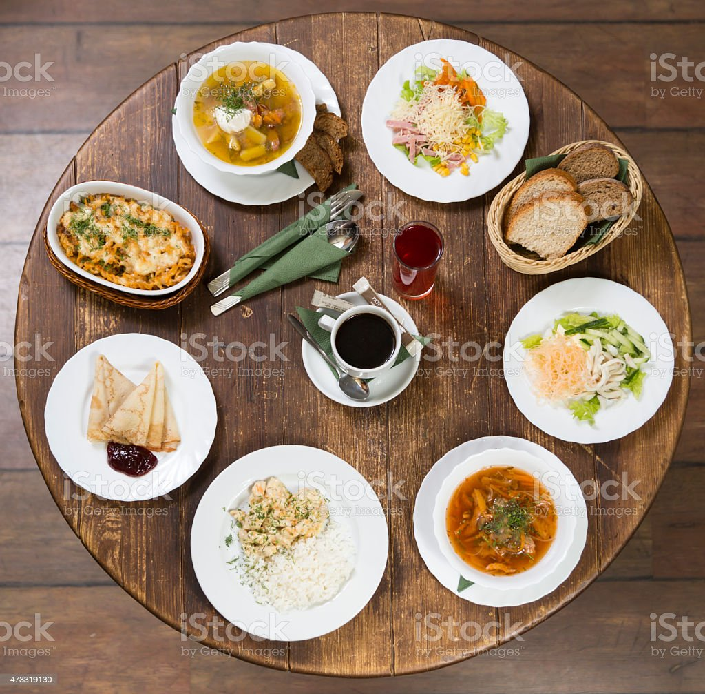 Business Lunch On A Vintage Round Table Monday Stock Photo More - Round table lunch special