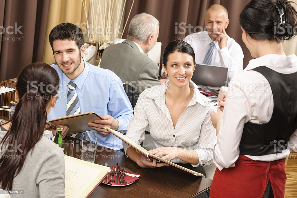 Business lunch waitress take order meal restaurant stock photo