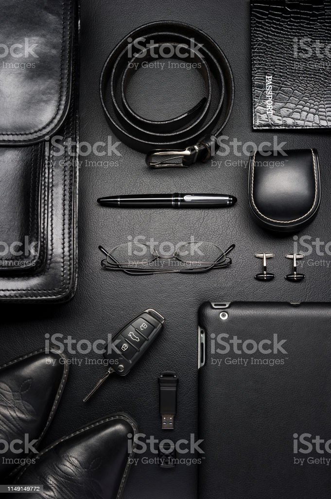 Man accessories in business style, briefcase, gadgets, shoes, clothes...