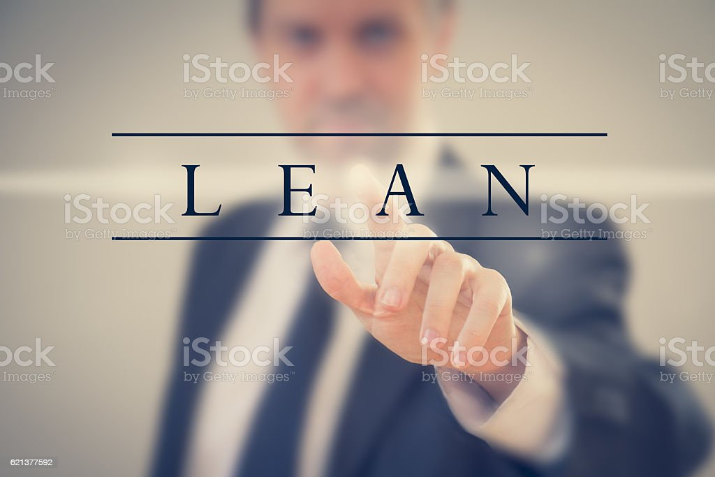 Business man adopting Lean methodology stock photo