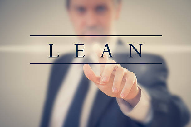 Business man adopting Lean methodology a Business man in a suit touching word