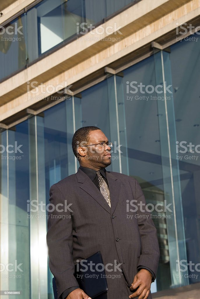 Business Man and Office Building stock photo