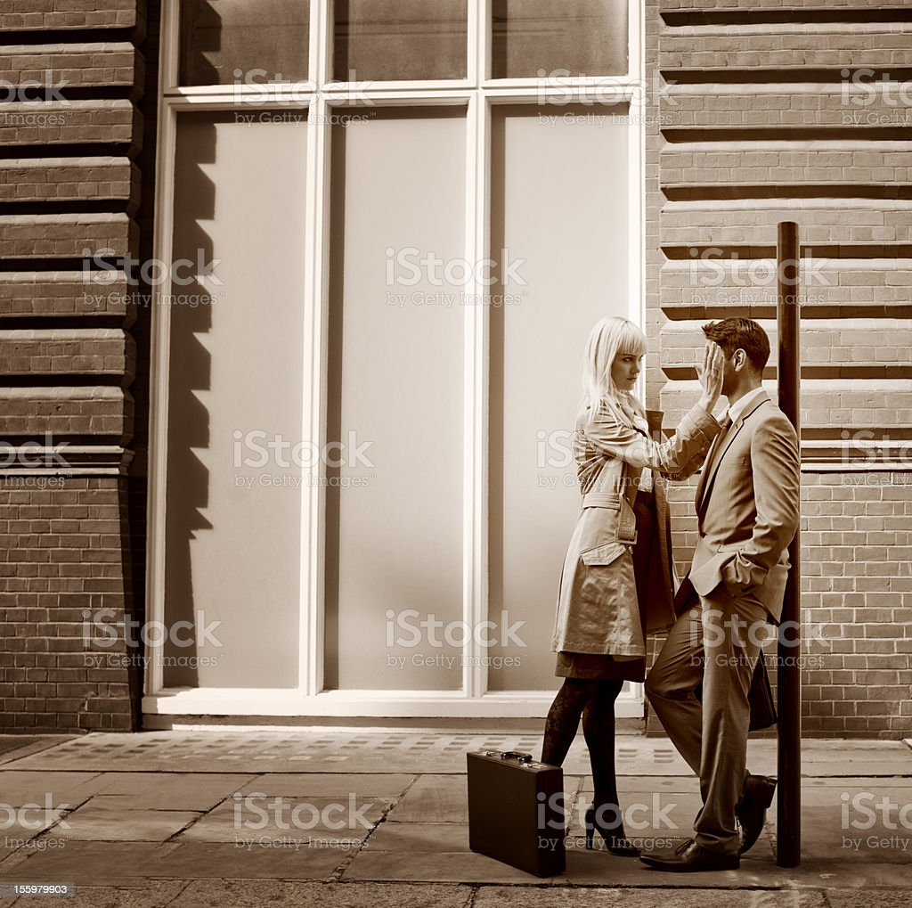 Business Man and Woman on City Street stock photo