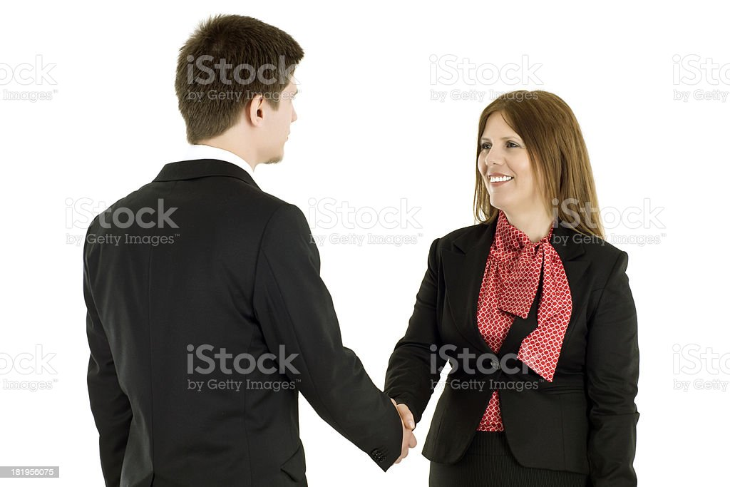 Business Man and Woman Shaking Hands royalty-free stock photo