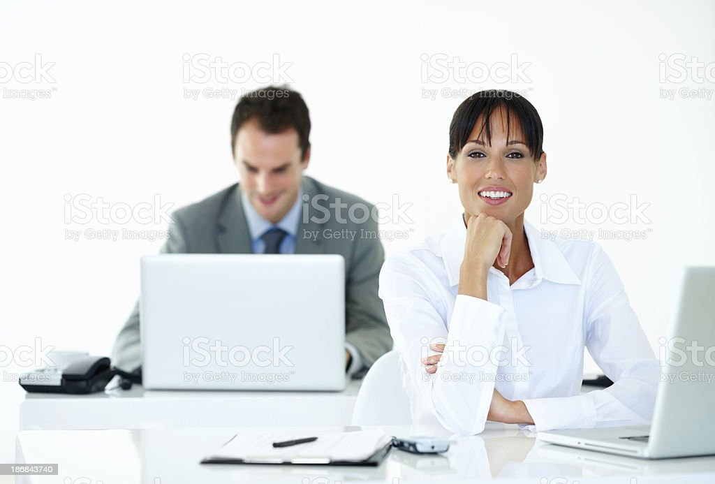 Business man and woman working together royalty-free stock photo