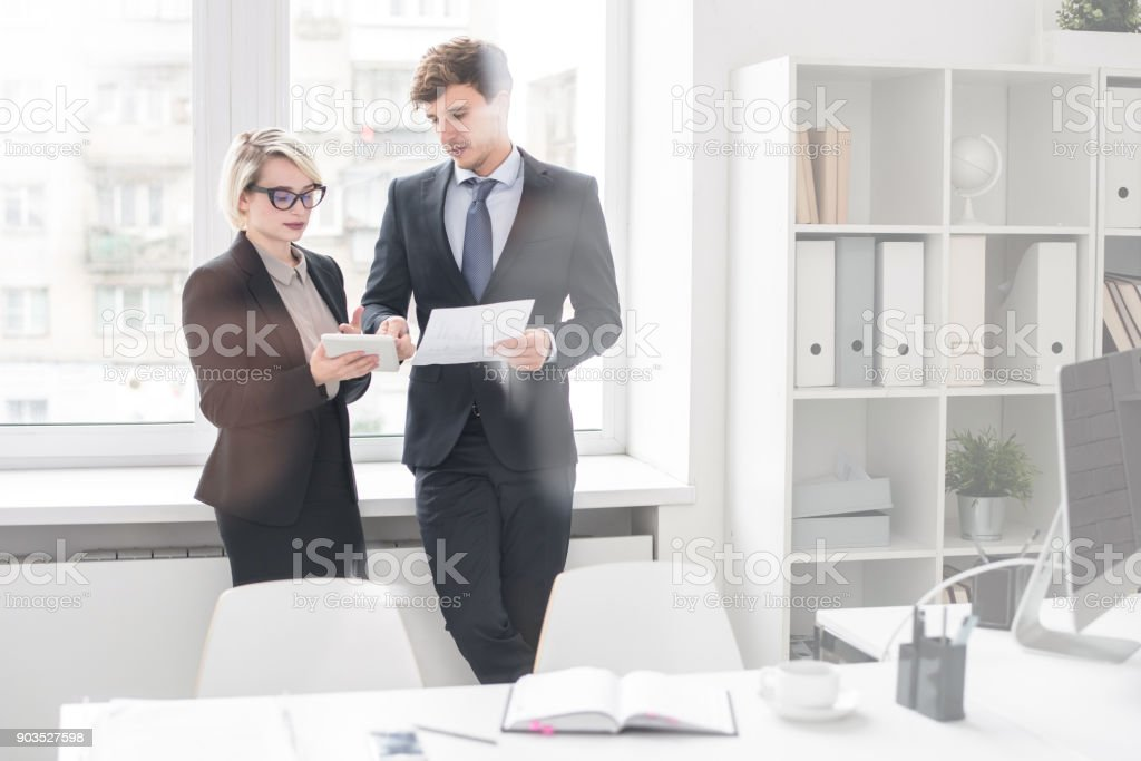 Business Man and Woman  Working Together stock photo
