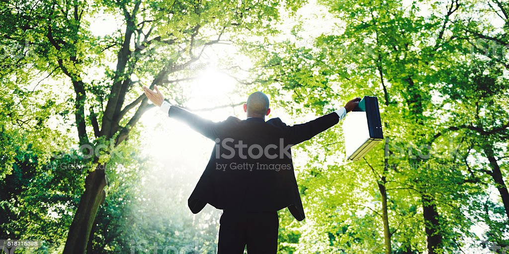 Business Man Arms Oustretched Forest Green Concept stock photo