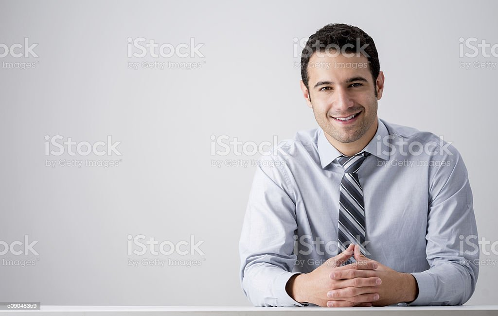 Business man at his desk stock photo
