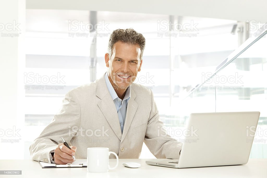 Business man at work stock photo