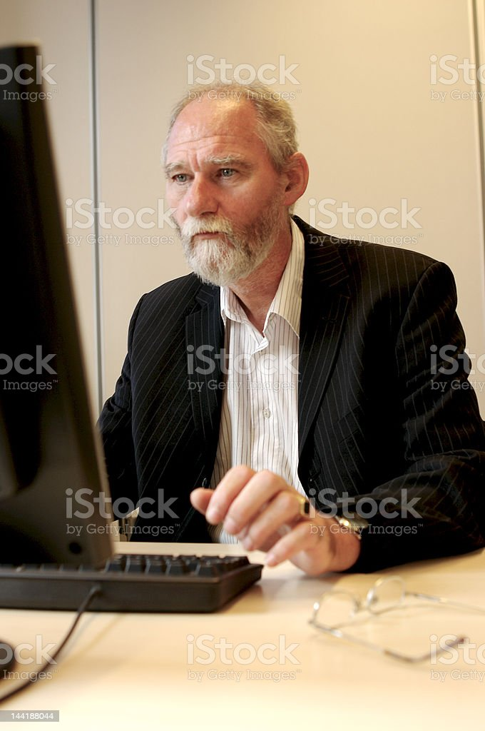 Business man behind is computer. stock photo