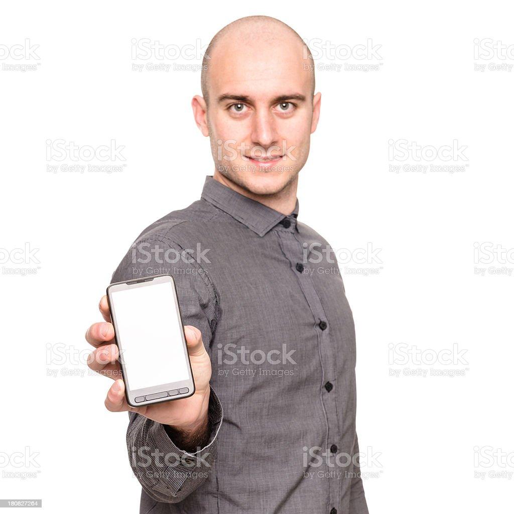 Uomo Daffari Su Sfondo Bianco Vuoto Telefono Fotografie Stock E