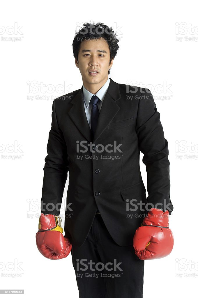 Business man  boxing glove suit isolated royalty-free stock photo