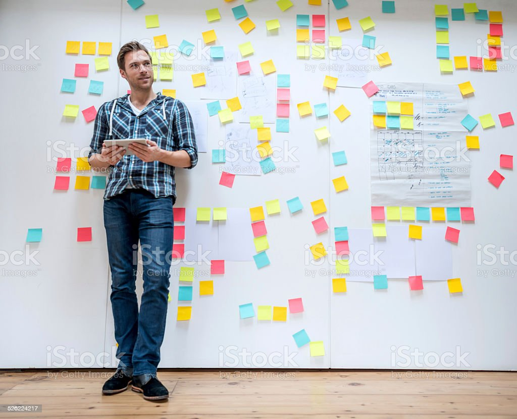 Business man brainstorming stock photo