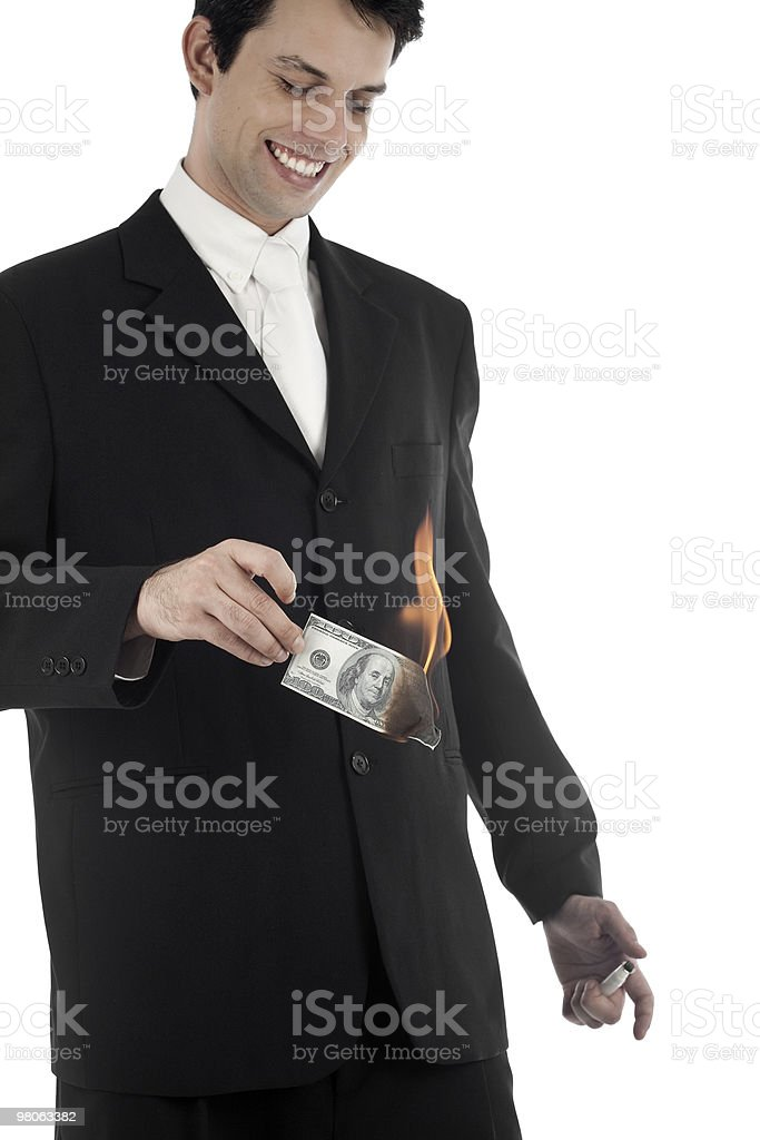 Business Man Burning Money royalty-free stock photo