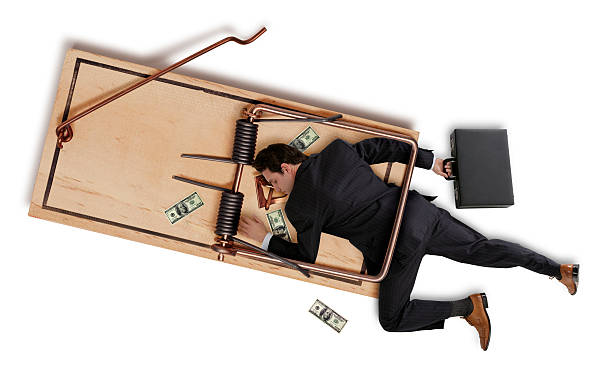 Business Man Caught in a Trap stock photo