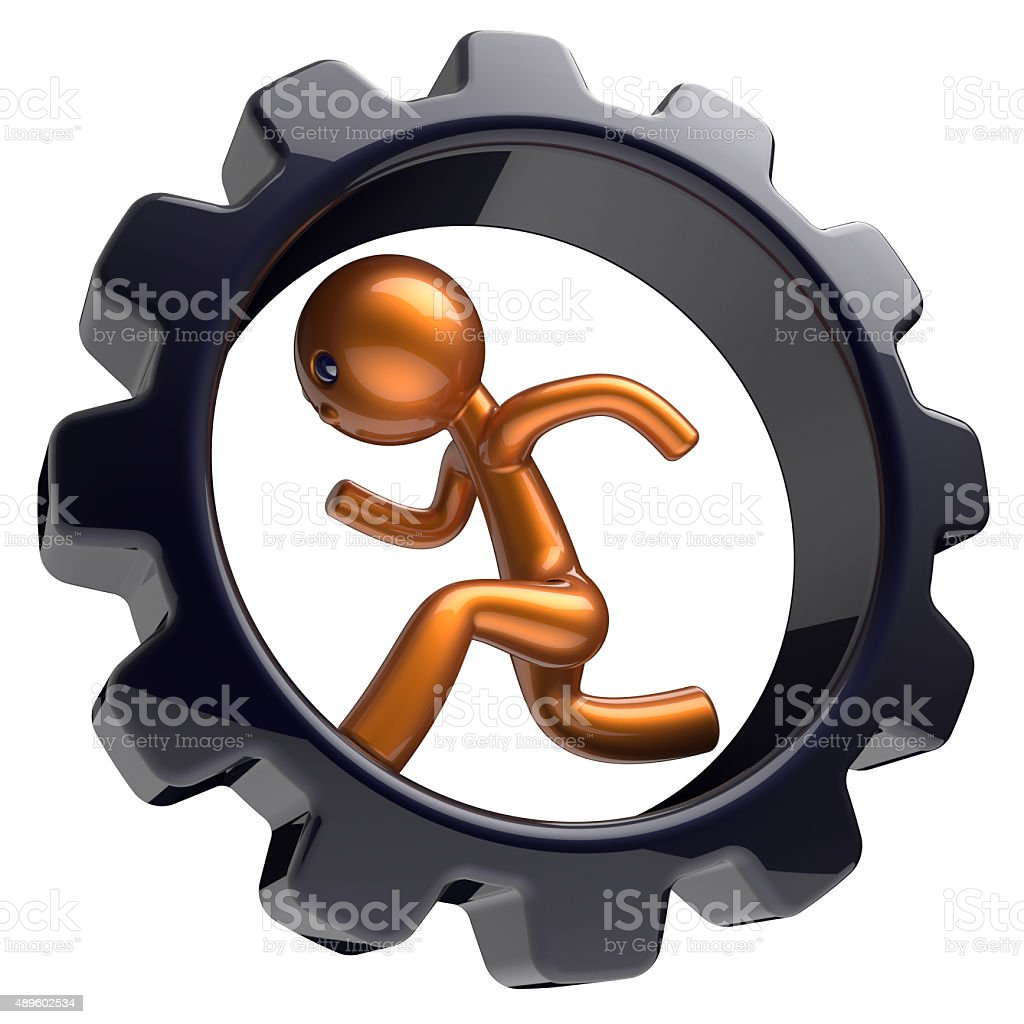 Business man character running inside gearwheel like hamster stock photo
