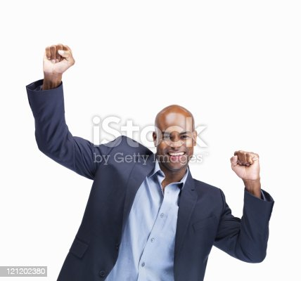 istock Business man cheering on white background 121202380
