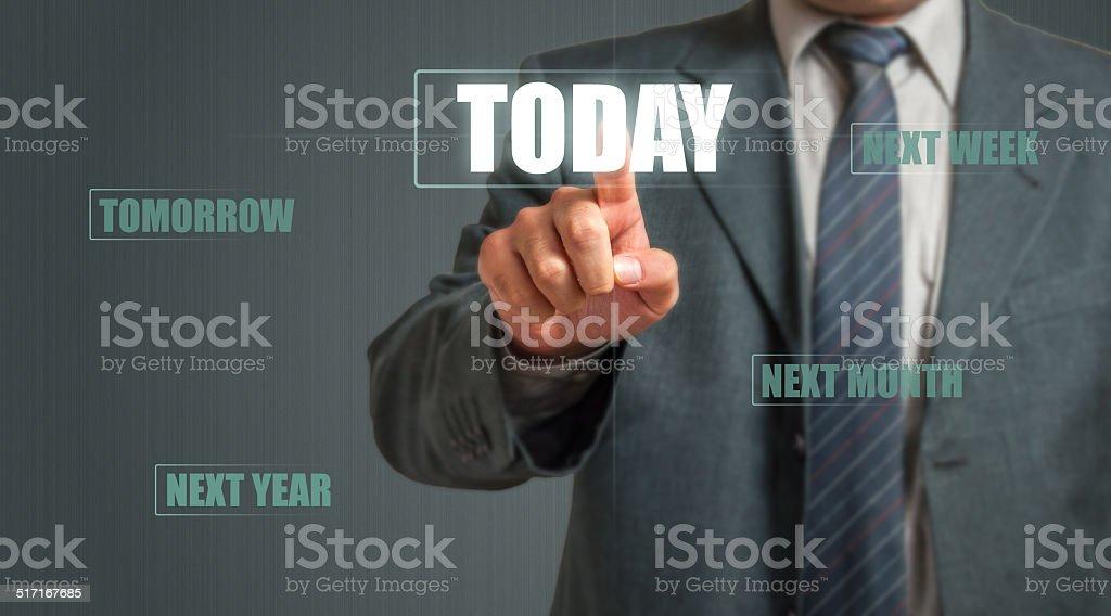 Business Man Choosing Today stock photo