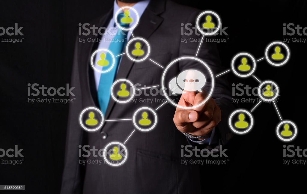 Business man Clicking on Networking Virtual Illustrated Screen stock photo