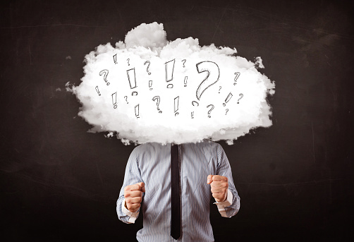 istock Business man cloud head with question and exclamation marks 1138826823