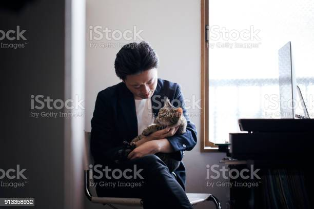 Business man communicating with his cat at home office picture id913358932?b=1&k=6&m=913358932&s=612x612&h=ohu5g9ubsehmyijl0nfbcen3kd9qtpuu3xhz6igpahk=