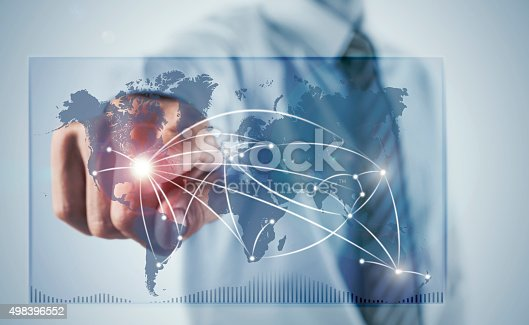 498272366 istock photo Business man connecting the World on digital screen 498396552