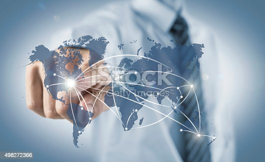 istock Business man connecting the World 498272366