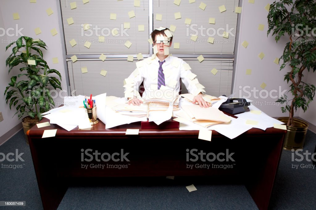 Business Man Covered in Post Its! royalty-free stock photo