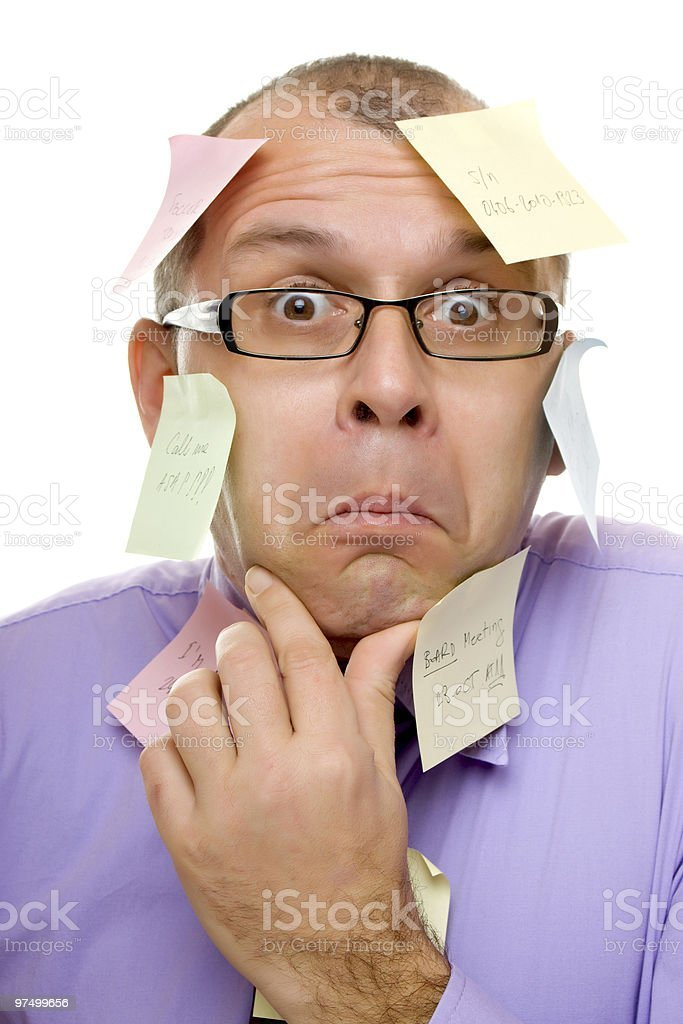 Business man covered with sticky notes royalty-free stock photo