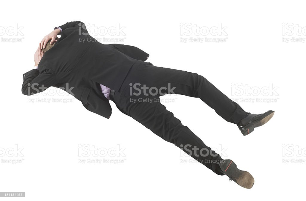 Business man covering on floor stock photo