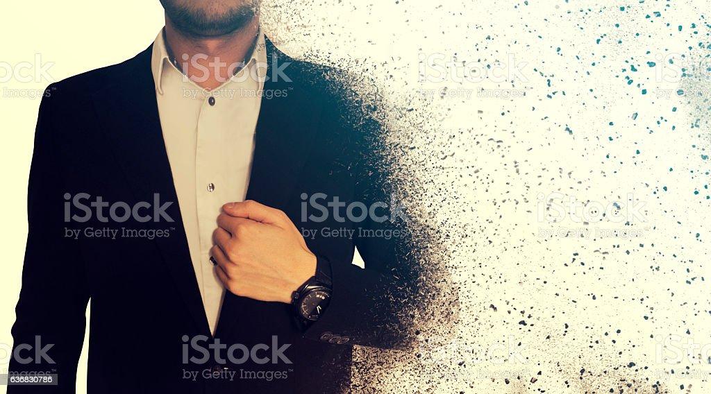 Business man decomposition effect stock photo