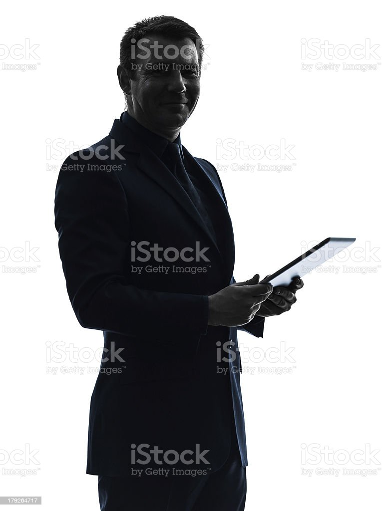 business man digital tablet posing portrait silhouette royalty-free stock photo