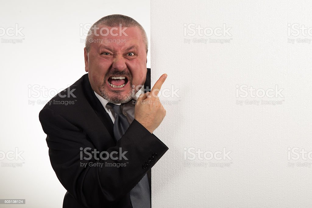 Business man displaying a banner add stock photo