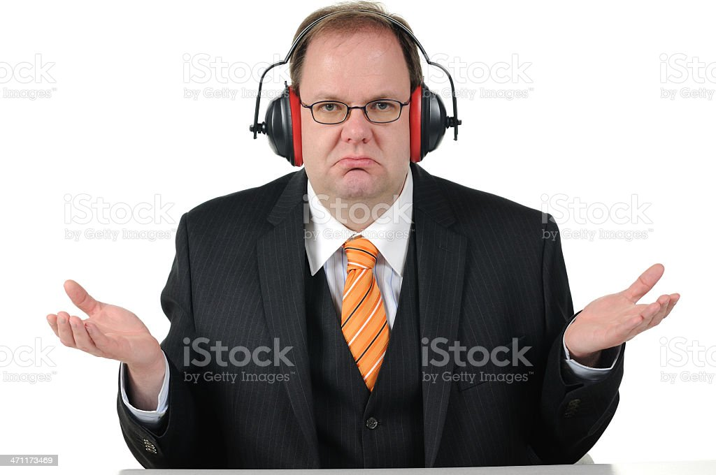 Business Man do not hear something Ear Protection royalty-free stock photo