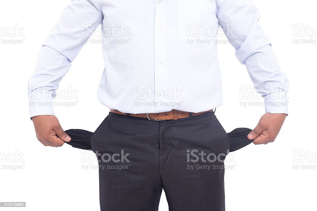 Business man does not have money in pocket stock photo