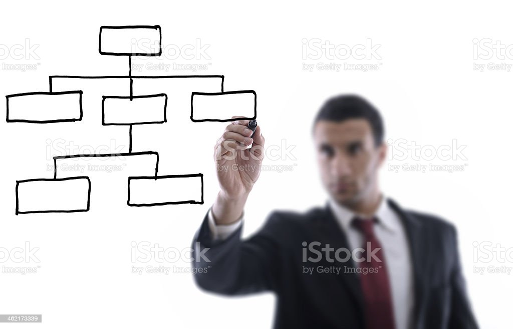 business man draw  chart with marker stock photo